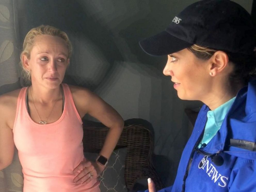 PHOTO: Kimberly Kennedy speaks with ABC News Ginger Zee after Hurricane Michael swept through Mexico Beach, Fla.