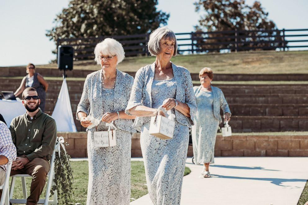 PHOTO: Wanda Grant and Betty Brown walk down the aisle at their granddaughters Tennessee wedding September 22.