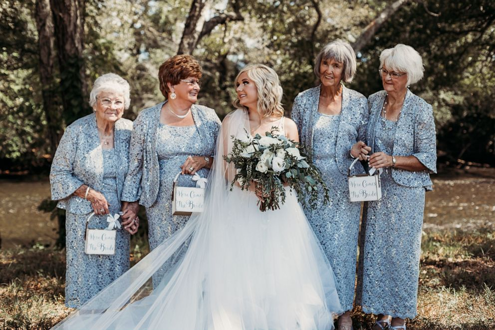PHOTO: Lyndsey Raby of Tennessee, is pictured at her September 22 wedding with her great-grandmother, Kathleen Brown, her husbands grandmother, Joyce Raby, Lyndseys grandmother Wanda Grant and her other grandmother, Betty Brown.