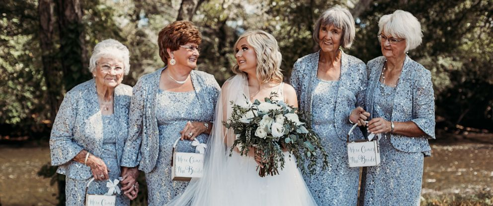 PHOTO: Lyndsey Raby of Tennessee, is pictured at her eptember 22 wedding with her great-grandmother, Kathleen Brown, her husbands grandmother, Joyce Raby, Lyndseys grandmother Wanda Grant and her other grandmother, Betty Brown.