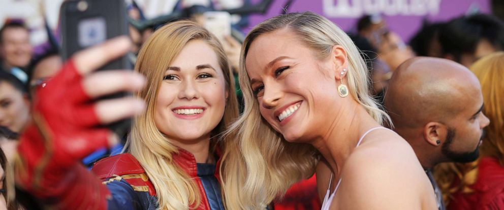 """PHOTO: Brie Larson, right, attends the Los Angeles World Premiere of Marvel Studios """"Avengers: Endgame"""" at the Los Angeles Convention Center on April 23, 2019 in Los Angeles."""
