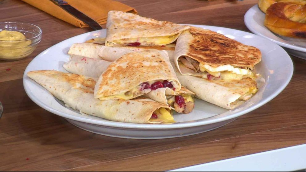Brie and cranberry quesadillas are a perfect way to snack on your leftovers.