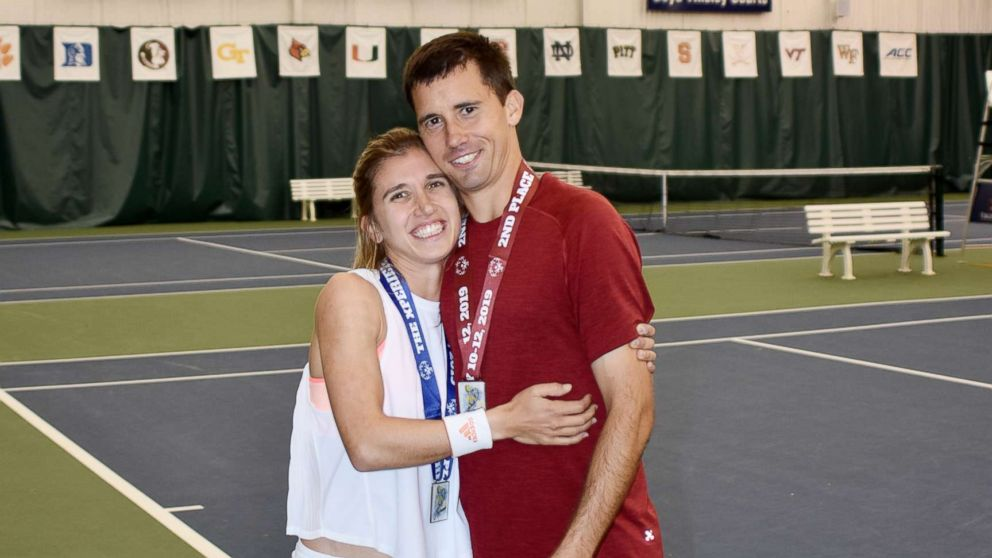 Brittany Taglireni and her fiance Ryan Smith are tennis partners in the 2019 Special Olympics in Abu Dhabi.