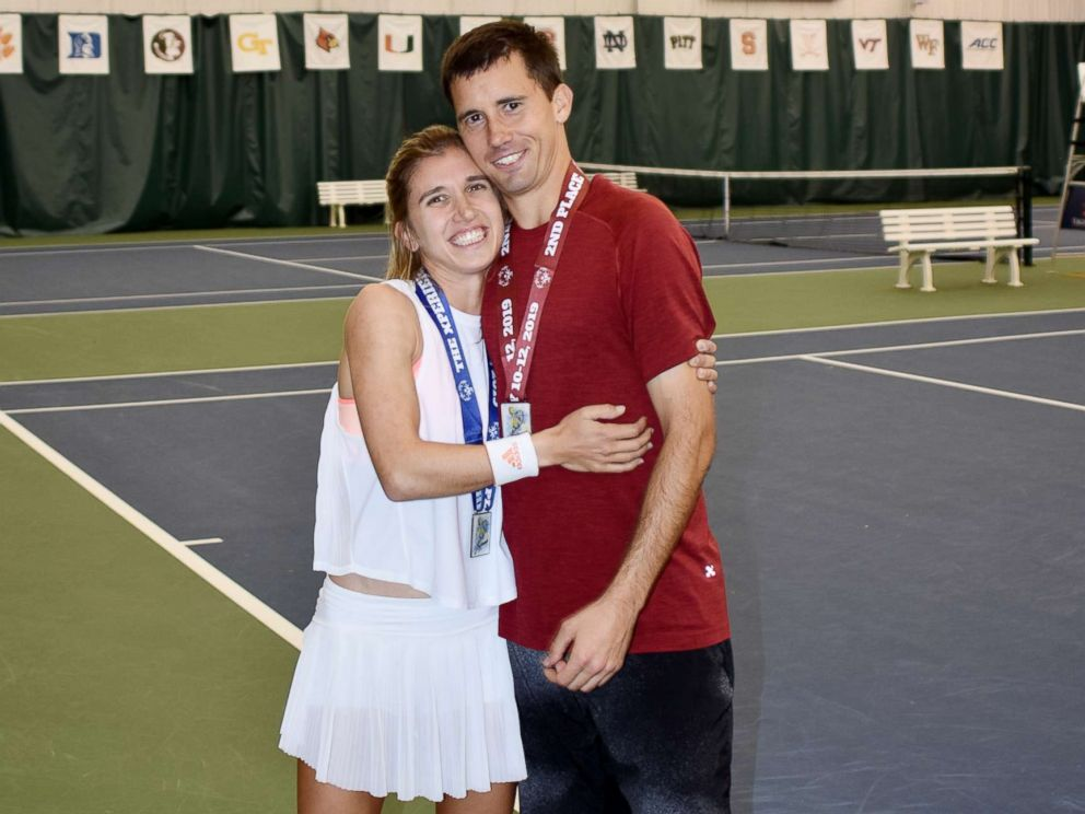 PHOTO: Brittany Taglireni and her fiance Ryan Smith are tennis partners in the 2019 Special Olympics in Abu Dhabi.
