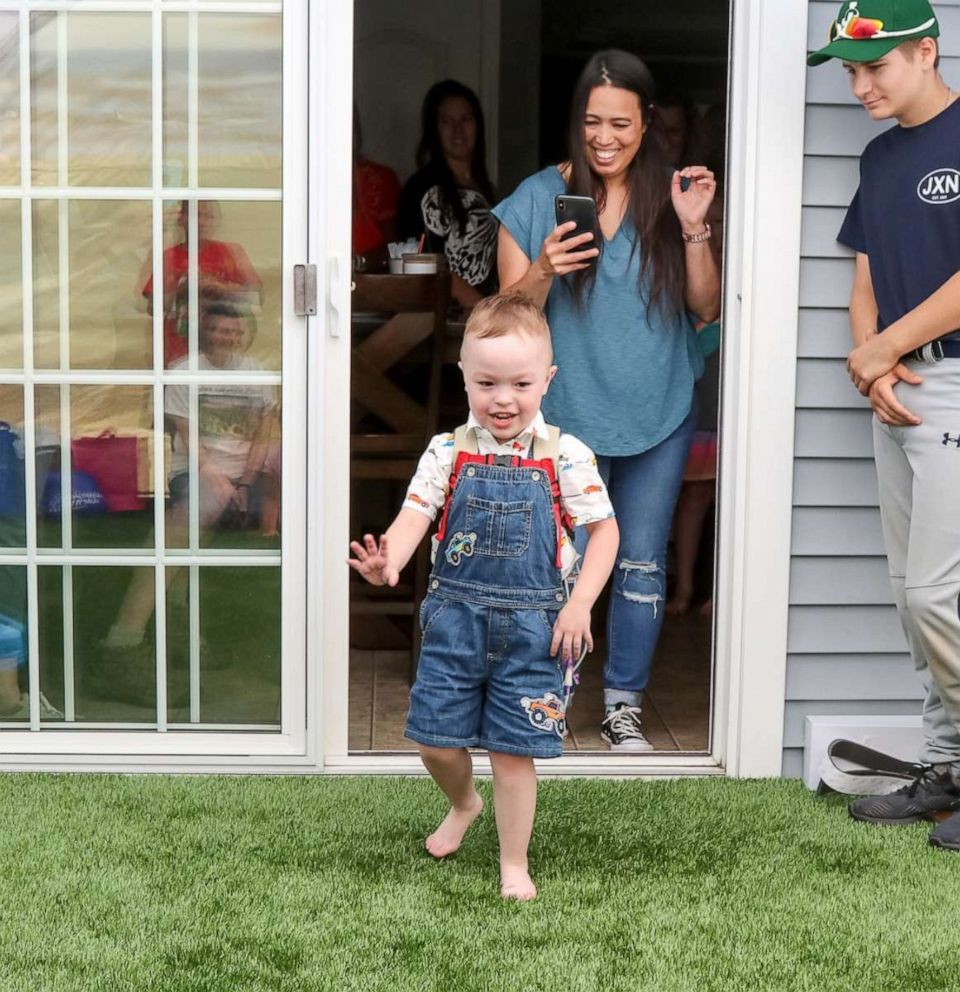 PHOTO: Brody, 4, of Griswold, Connecticut, sees his Make-A-Wish tented play area for the first time.