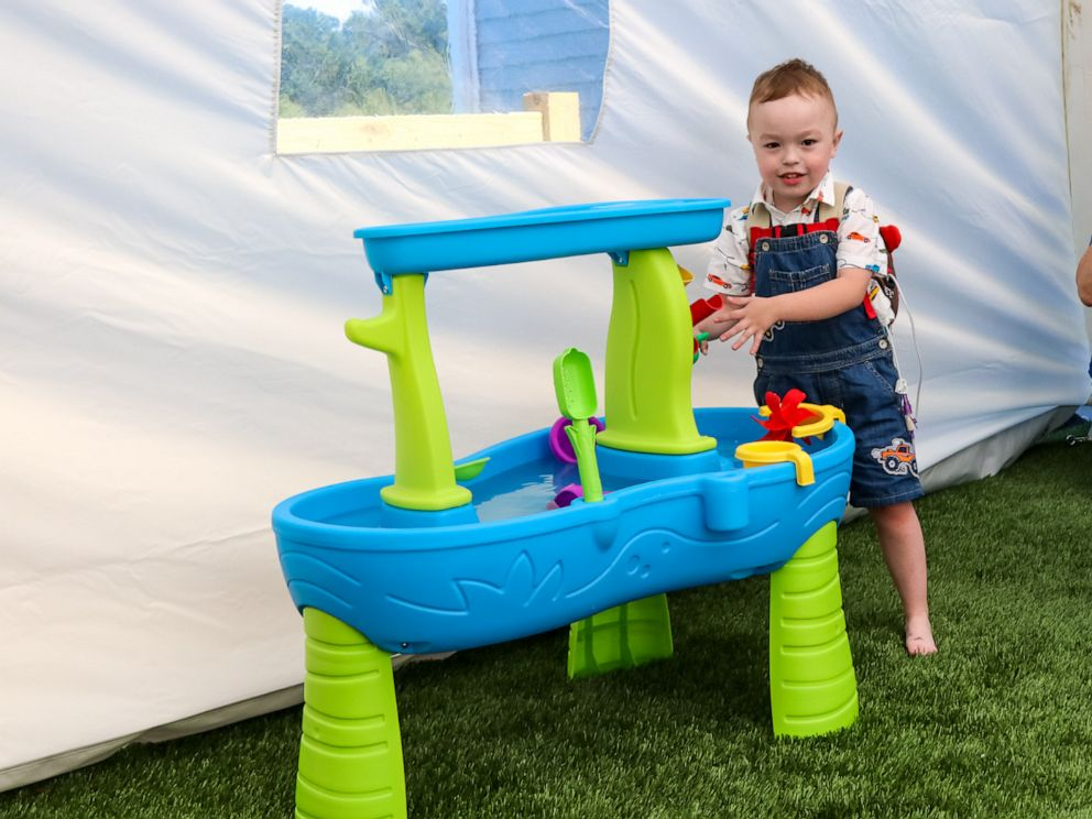 PHOTO: Brody, 4, of Griswold, Connecticut, plays in the tented outdoor area made for him by Make-A-Wish Connecticut.