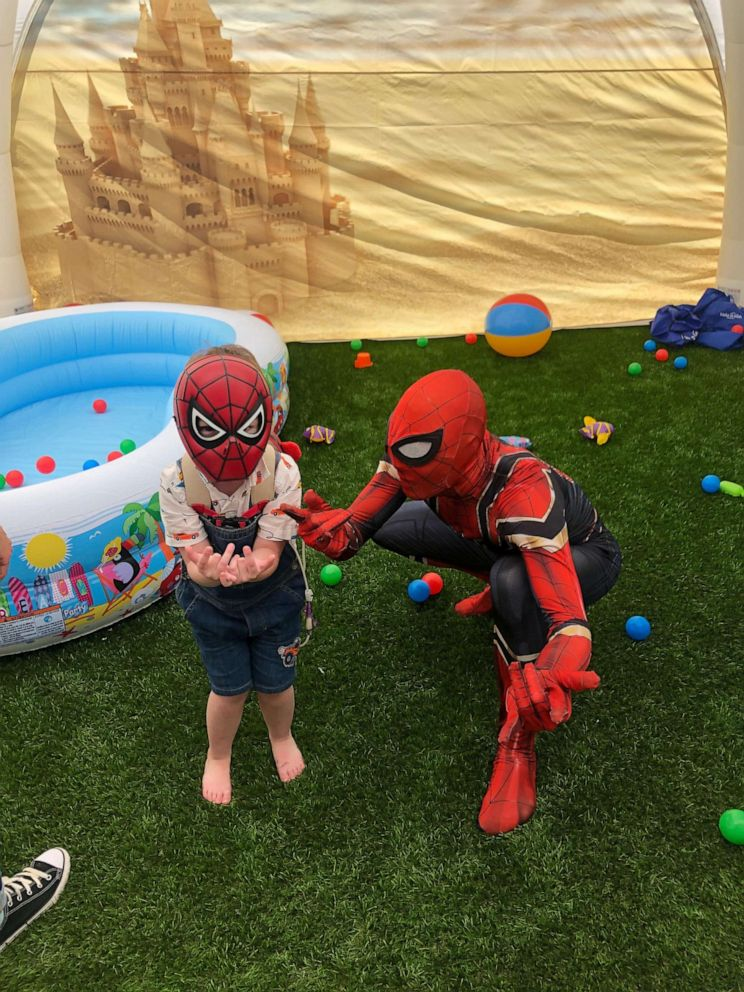 PHOTO: Brody, 4, plays with his favorite superhero Spider-Man in his new play area from Make-A-Wish Connecticut.