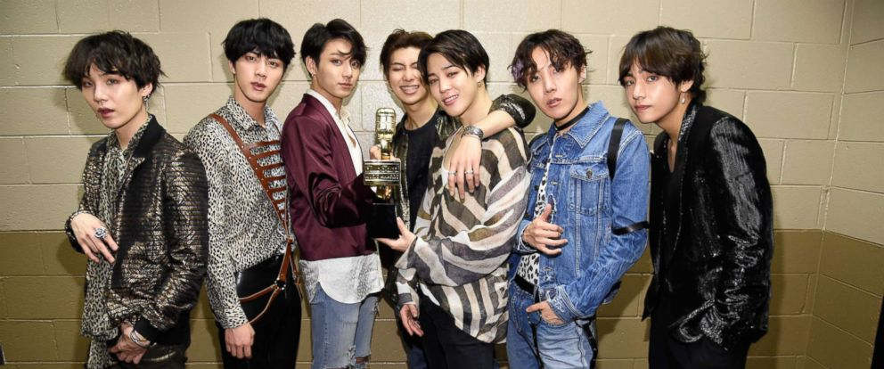 PHOTO: Musical group BTS, winners of the Top Social Artist award, attend the 2018 Billboard Music Awards at MGM Grand Garden Arena on May 20, 2018 in Las Vegas.
