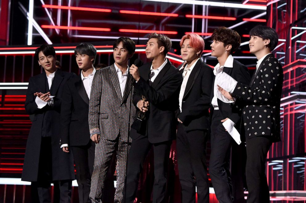 PHOTO: J-Hope, V, Jungkook, Jimin, Suga, Jin, and RM of BTS accept Top Duo/Group onstage during the 2019 Billboard Music Awards at MGM Grand Garden Arena, May 1, 2019, in Las Vegas, Nevada.