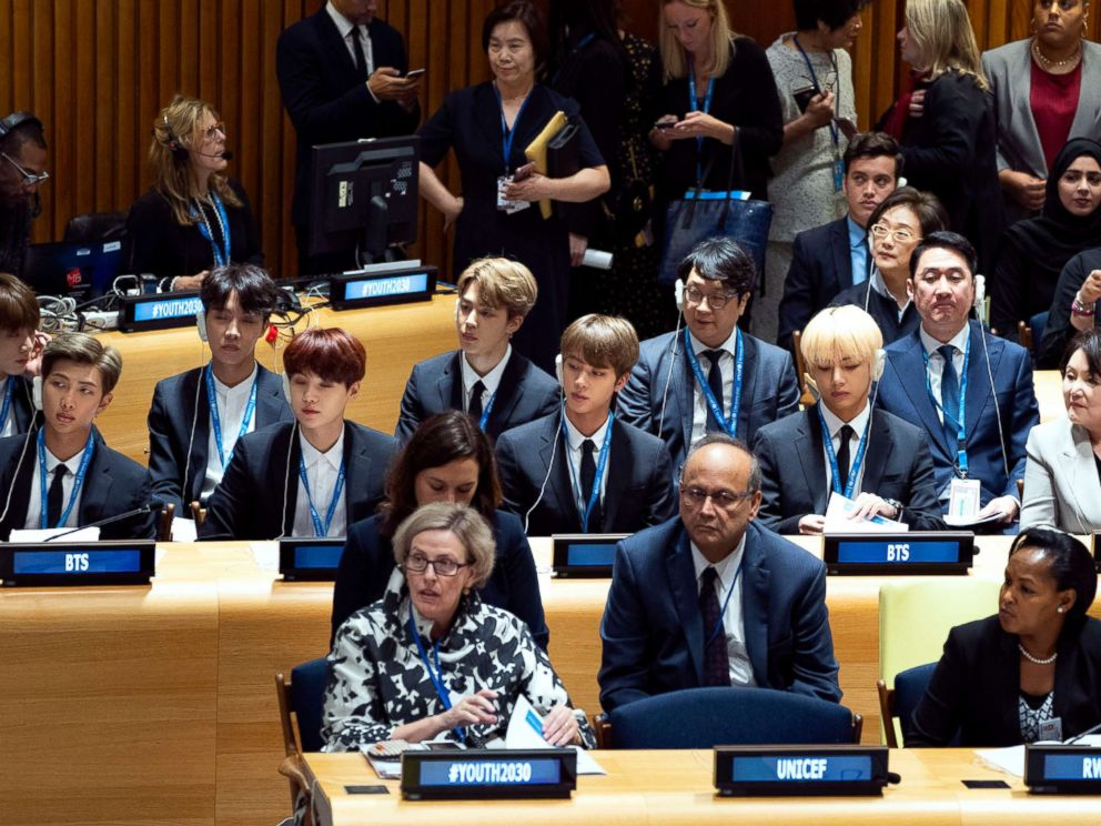 PHOTO: Members of the Korean K-Pop group BTS, center row, attend a meeting at the U.N. high level event regarding youth during the 73rd session of the United Nations General Assembly, at U.N. headquarters, Sept. 24, 2018.