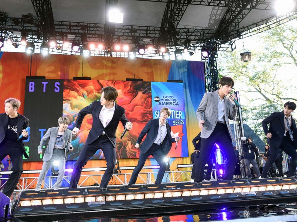 PHOTO: BTS kicked off the Good Morning America 2019 Summer Concert Series in Central Park on May 25, 2019.