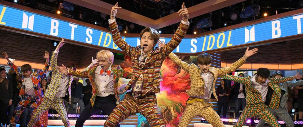 """PHOTO: BTS, one of the biggest boy bands in the world, made their debut on """"Good Morning America"""" today, live in Times Square, Sept. 26, 2018."""