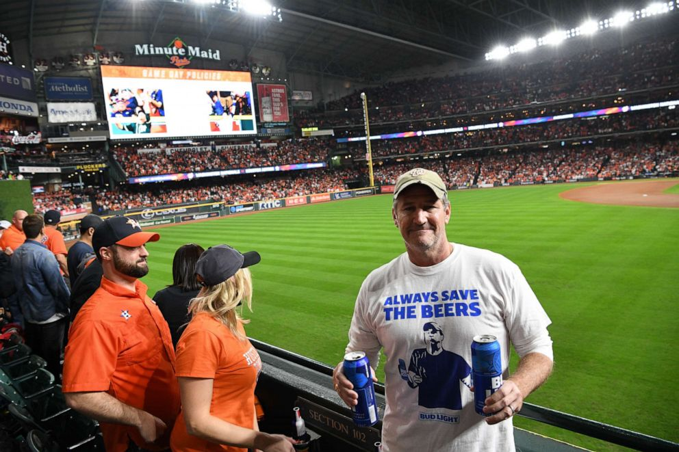 PHOTO: The Bud Light guys poses for a photo during Game 6 of the World Series on Oct. 29, 2019 in Houston, Texas.
