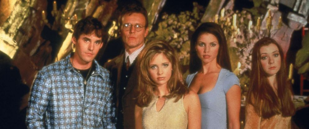 "PHOTO: From left: Nicholas Brendon, Anthony Head, Sarah Michelle Gellar, Charisma Carpenter and Alyson Hannigan, the cast of ""Buffy The Vampire Slayer."""