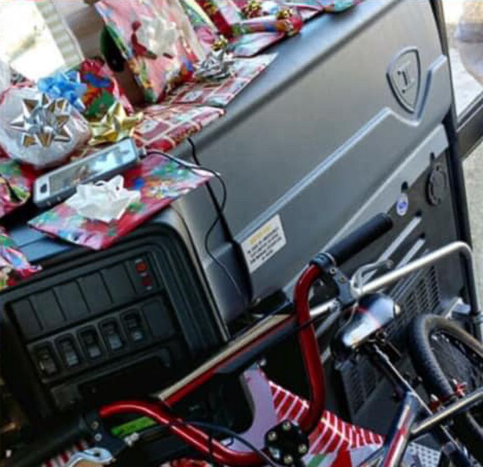PHOTO: Gifts are arranged on a school bus in a photo shared by Lake Highlands Elementary school on Dec. 22, 2018. Curtis Jenkins, a school bus driver, purchased a Christmas gift for every child on his route.