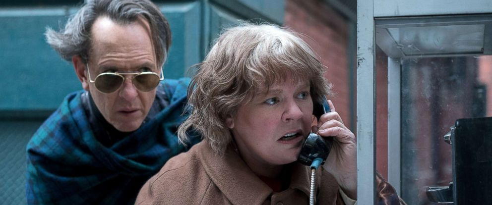 "PHOTO: Richard Grant and Melissa McCarthy appear in a scene from the 2018 film, ""Can You Ever Forgive Me?"""