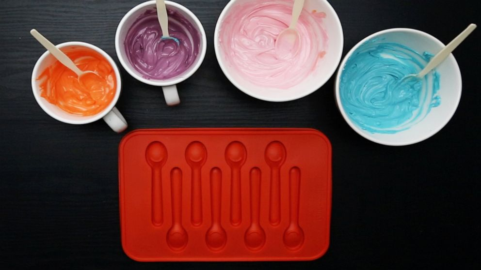 PHOTO: Supplies to make colorful candy spoons.