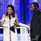 Cardi B and Offset accept the Best Rap Album for 'Invasion of Privacy' during the 61st Annual Grammy Awards on Feb. 10, 2019, in Los Angeles.