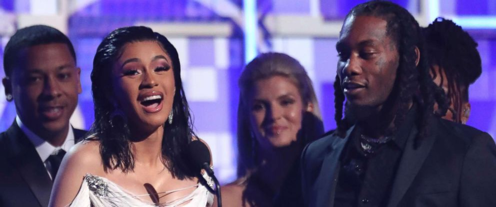 """PHOTO: Cardi B accepts the award for best rap album for """"Invasion of Privacy"""" at the 61st annual Grammy Awards, Feb. 10, 2019, in Los Angeles."""