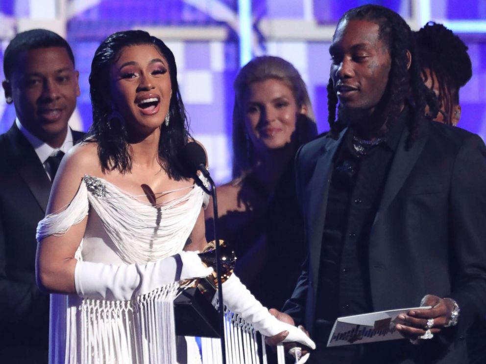 PHOTO: Cardi B accepts the award for best rap album for Invasion of Privacy at the 61st annual Grammy Awards, Feb. 10, 2019, in Los Angeles.