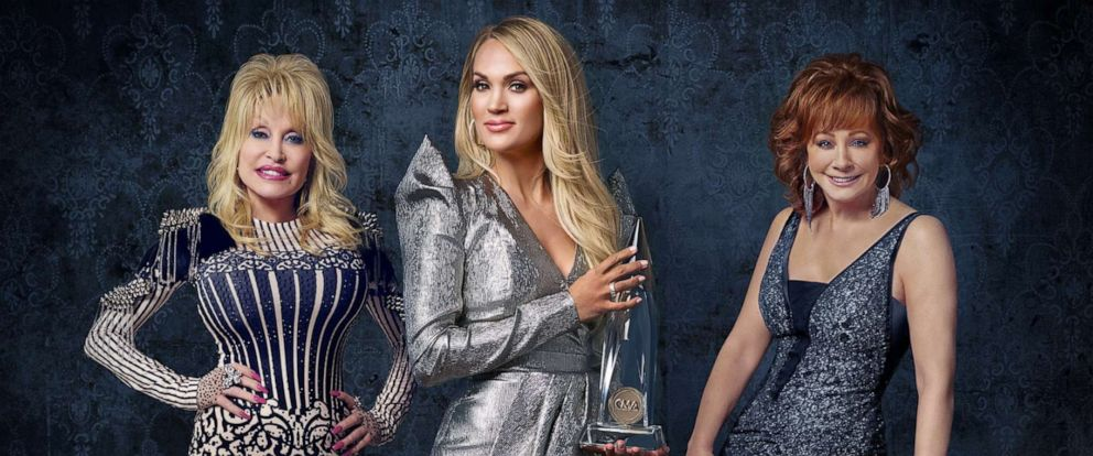 """PHOTO: Carrie Underwood hosts """"The 53rd Annual CMA Awards"""" with special guest hosts Reba McEntire and Dolly Parton, celebrating legendary women in Country Music throughout the ceremony on Nov. 13, 2019."""