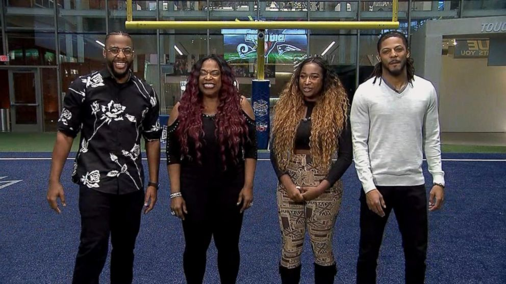 Carmen Carter, second from left, speaks out with her children and nephew about their Super Bowl halftime performance.