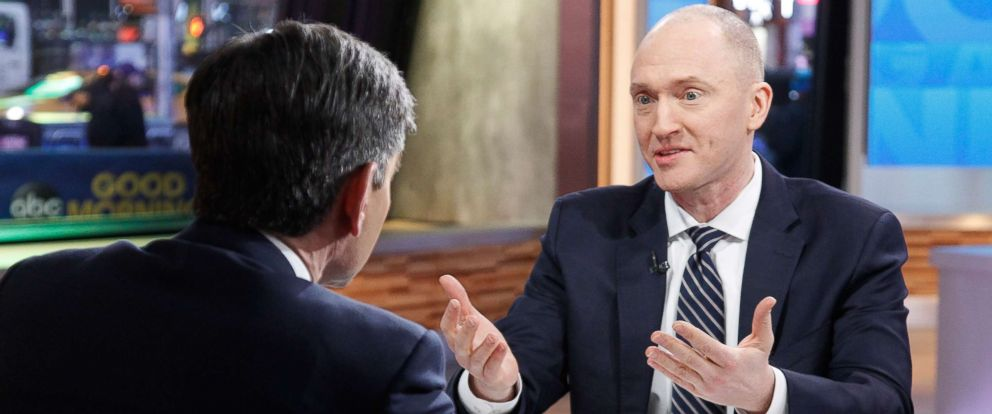 "PHOTO: Former Trump campaign worker Carter Page talks to George Stephanopoulos on the set of ABC News ""Good Morning America,"" Feb. 6, 2018."