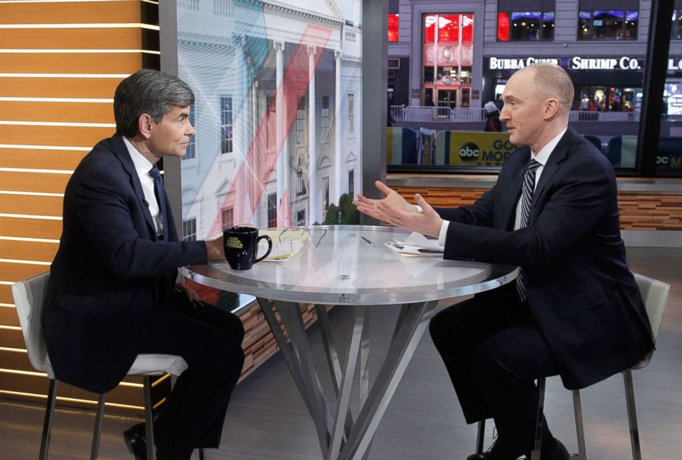 PHOTO: Former Trump campaign worker Carter Page talks to George Stephanopoulos on the set of ABC News Good Morning America, Feb. 6, 2018.