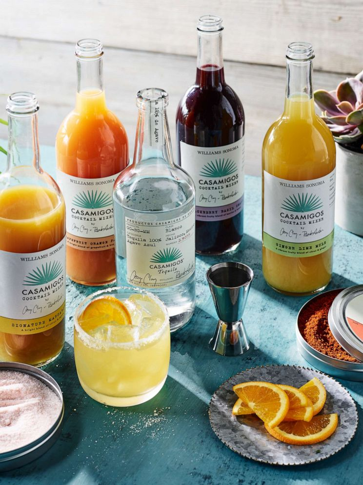 PHOTO: Handcrafted cocktail mixes from Casamigos and Williams Sonoma make margarita making even easier.