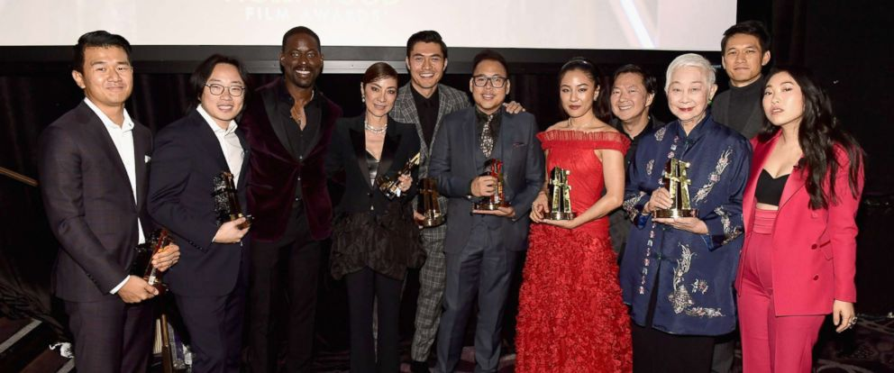 PHOTO: Cast of Crazy Rich Asians, poses for a photo at the Annual Hollywood Film Awards at The Beverly Hilton Hotel, Nov. 4, 2018 in Beverly Hills, Calif.