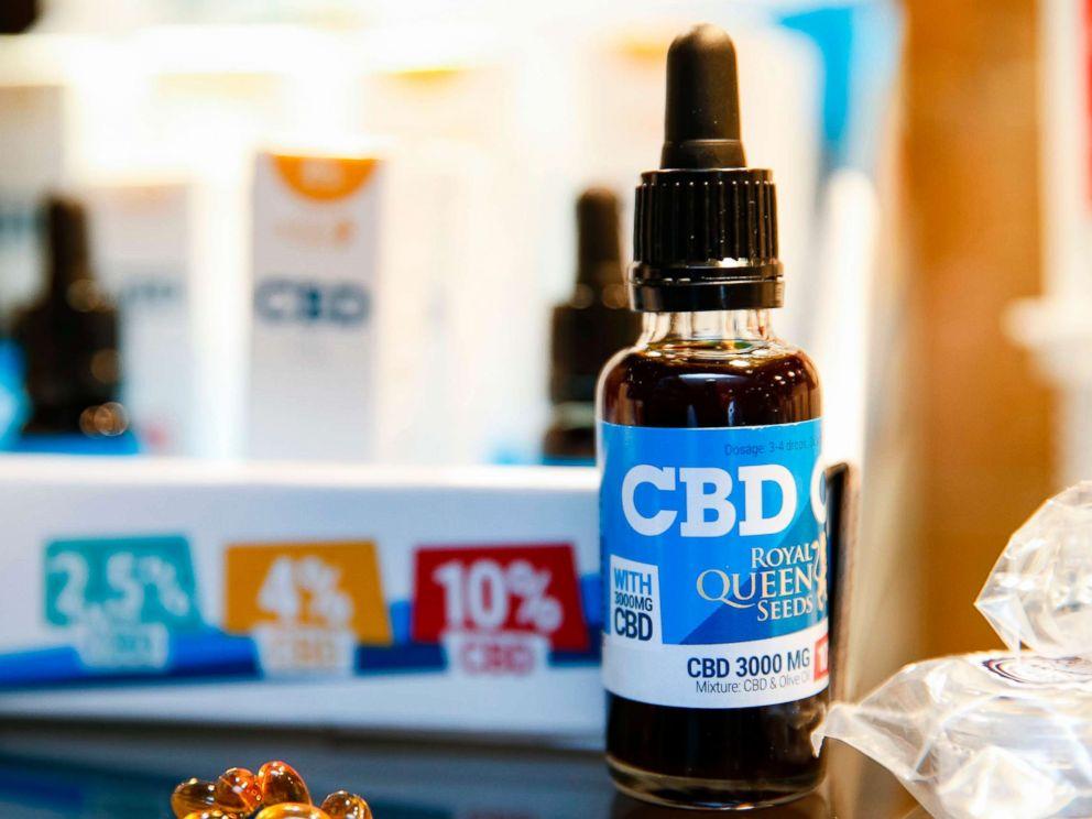 PHOTO: Oils containing CBD (Cannabidiol) are seen in a shop in Paris, June 14, 2018.