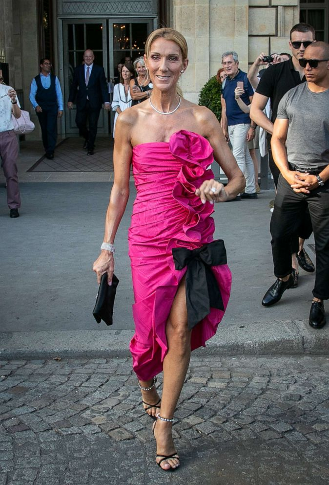 PHOTO: Celine Dion steps out in a pink dress, June 29, 2019, in Paris.