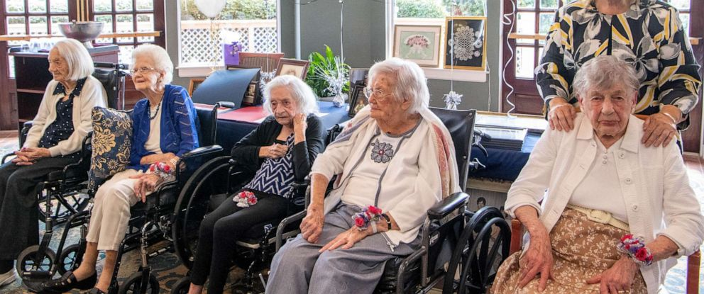 "PHOTO: Anelia King Hardy, 104, Lena Waters Carman, 101, Mary Lois Arnold, 103, Amanda ""Opal"" James, 105, and Marion L. Lyon,104, are honored by the Century Club at The Meadows Lakeshore Senior Living Thursday, Aug. 15, 2019, in Nashville, Tenn."