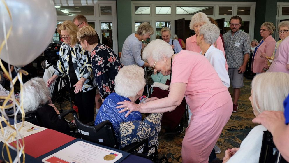 PHOTO: Well-wishers and honorees mingle at a celebration for six Nashville women who are all at least 100 years old at the Meadows Lakeshore Senior Living in Nashville, Aug. 15, 2019.
