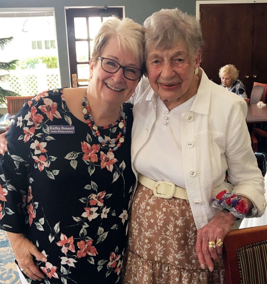 PHOTO: Kathy Bennett of Family Staffing Solutions poses for a photo with Marion L. Lyon, 104, during a celebration at the Meadows Lakeshore Senior Living in Nashville, Aug. 15, 2019.