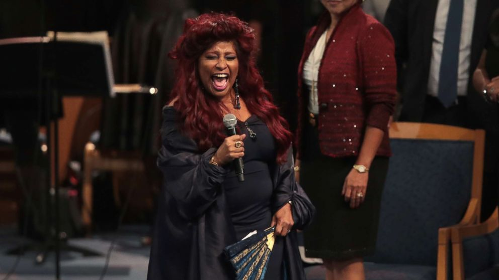 Singer Chaka Khan performs at the funeral for Aretha Franklin at the Greater Grace Temple on Aug. 31, 2018 in Detroit.