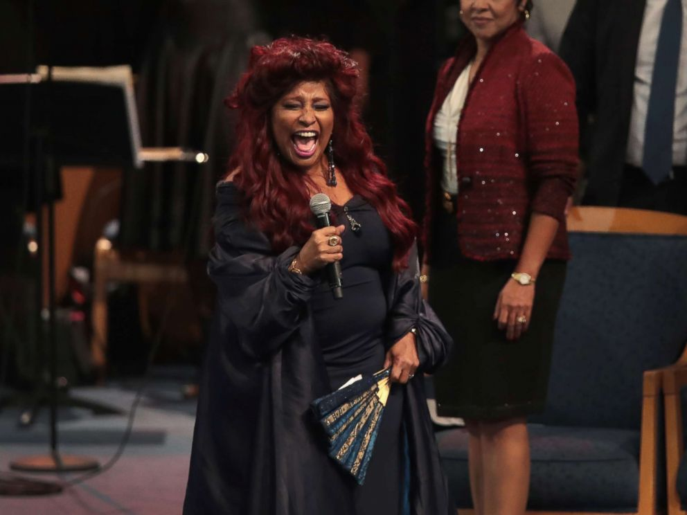 PHOTO: Singer Chaka Khan performs at the funeral for Aretha Franklin at the Greater Grace Temple on Aug. 31, 2018 in Detroit.