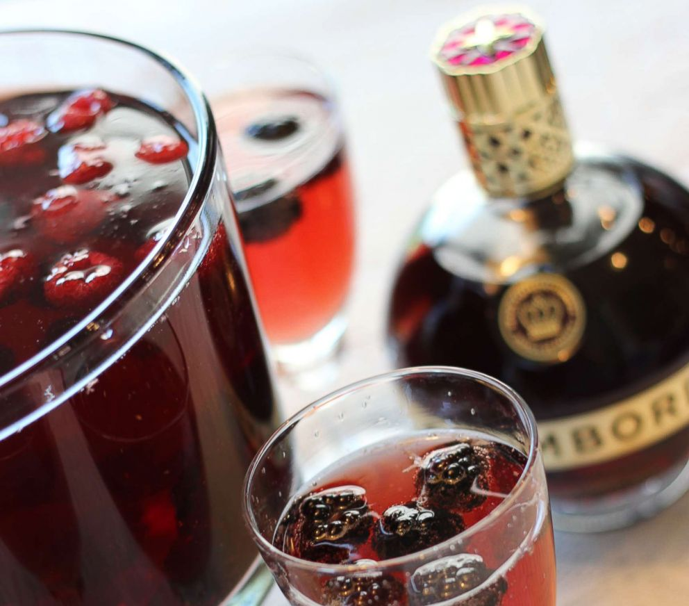 PHOTO: A sparkling Chambord and champagne cocktail with raspberries and blackberries.