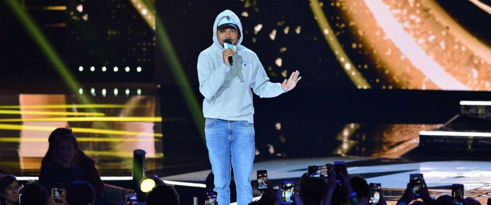 PHOTO: Chance the Rapper performs at WE Day at The Forum in this April 25, 2019 file photo in Inglewood, Calif.