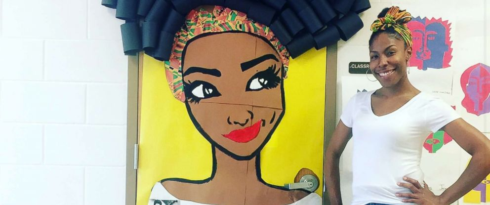 PHOTO: Chanique Davis is a teacher in Lake Alfred, Fla., who decorated her classroom door for Black History Month.