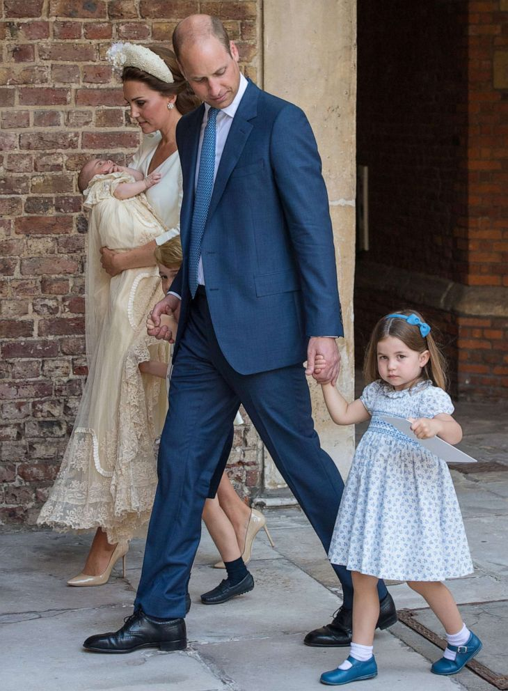 PHOTO: Prince William, Duke of Cambridge and Catherine, Duchess of Cambridge with their children Prince George, Princess Charlotte and Prince Louis leave after Prince Louis christening at St. Jamess Palace in London, July 9, 2018.