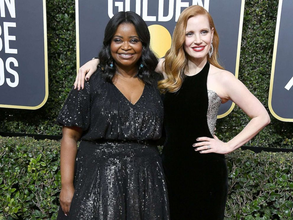 PHOTO: Jessica Chastain and Octavia Spencer arrive at the 75th annual Golden Globe Awards at the Beverly Hilton Hotel, Jan. 7, 2018, in Beverly Hills, Calif.