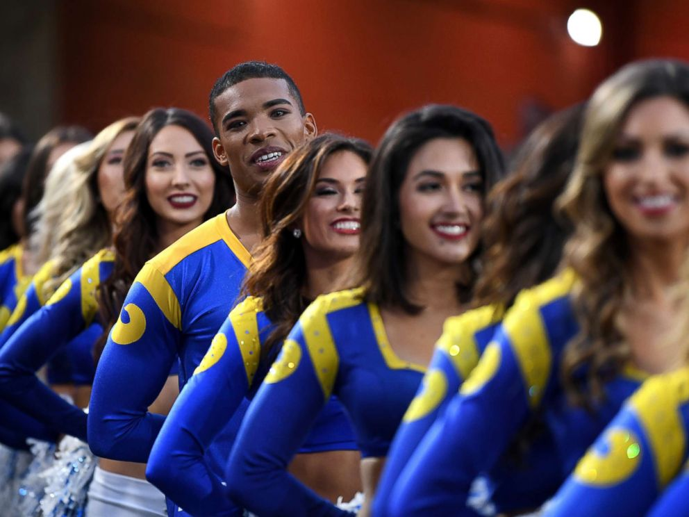 PHOTO: Los Angeles Rams cheerleaders wait to perform in the NFC Divisional Playoff game against the Dallas Cowboys at Los Angeles Memorial Coliseum, Jan. 12, 2019, in Los Angeles.