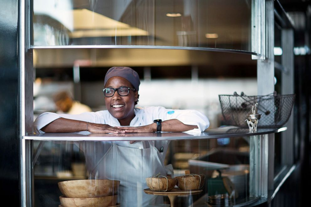 PHOTO: Mashama Bailey in the kitchen at her restaurant The Grey in Savannah, Ga.