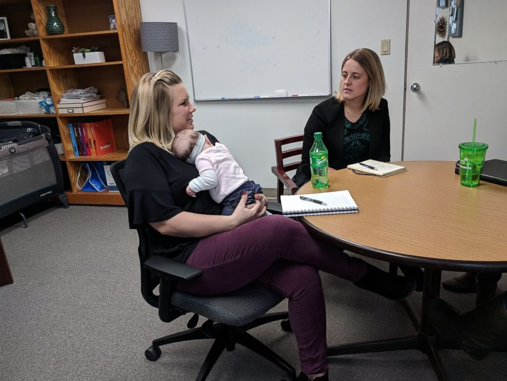PHOTO: Chelsey DeRuyter is the first parent at the Girl Scouts of Greater Iowa to participate in the Infants at Work program with her daughter, 14-week-old Finley.