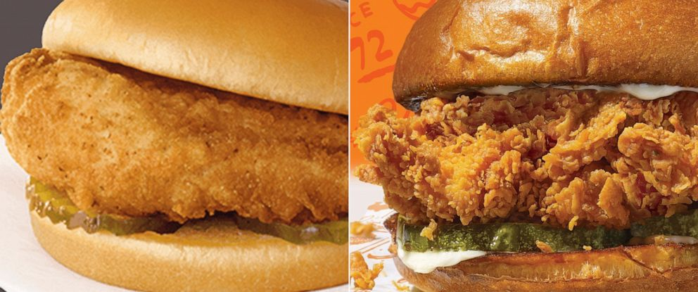 PHOTO: Chicken sandwiches from Chik-Fil-A and Popeyes.