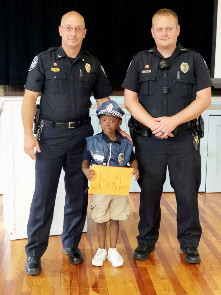 PHOTO: Braylon Henson, a first grader at Bay Minette Elementary School in Alabama, recently became an honorary school resource officer.