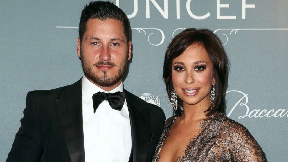 Val Chmerkovskiy and Cheryl Burke arrive at the 2014 UNICEF Ball at Regent Beverly Wilshire Hotel, Jan. 14, 2014, in Beverly Hills, Calif.
