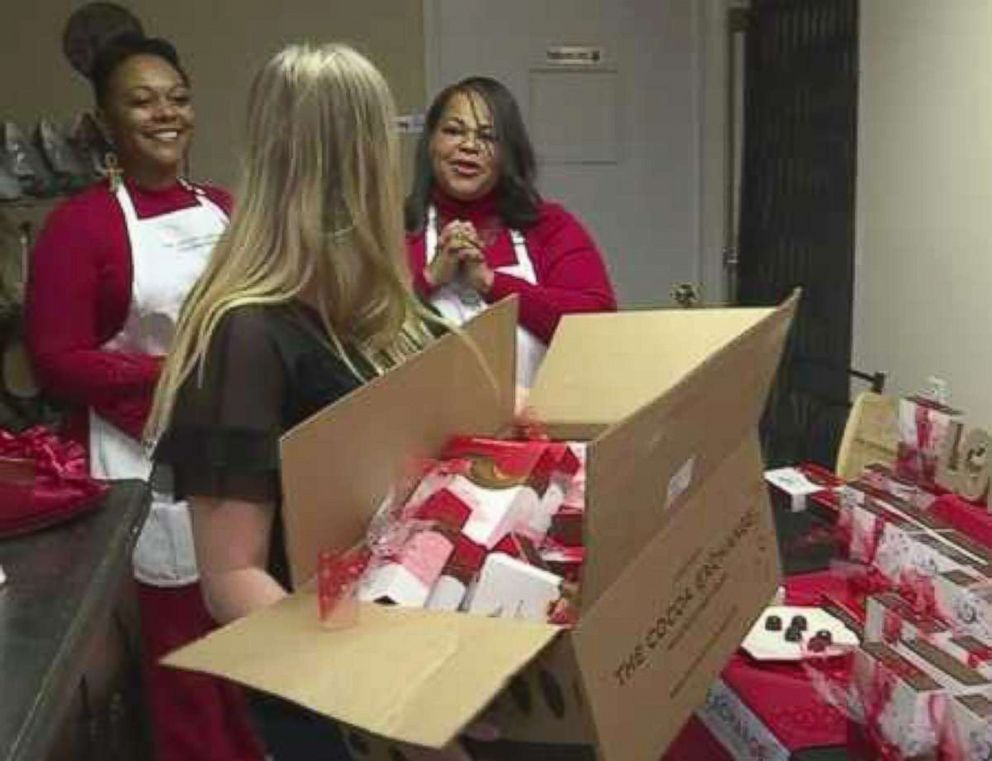 PHOTO: Dedra Moon made it her mission to help distribute Valentines Day chocolates to survivors of domestic violence in her community.