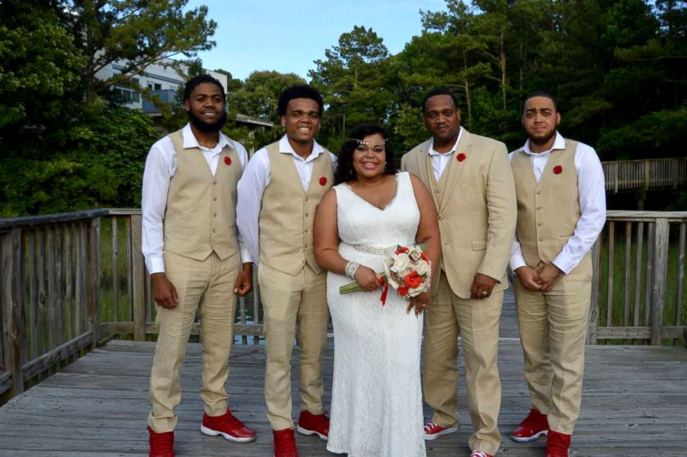 PHOTO: Dedra Moon is photographed here with her family for her wedding vows renewal ceremony.